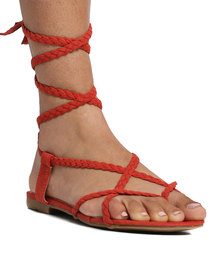 Footwork Eden Lace Up Toe Thong Sandal Burnt Orange