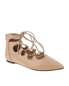 Footwork Womens IZA Flat Ballerina Lace Up Pump Nude