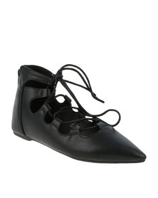Footwork Womens IZA Flat Ballerina Lace Up Pump Black