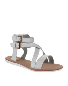 Footwork Buckle Flat Sandals White