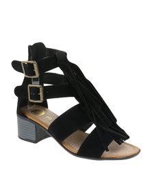 Footwork Tassel Block Heels Black