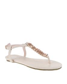 Footwork Embellished Flat Sandals Nude