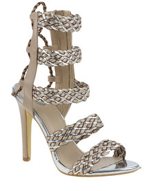 Footwork Jordan Chunky High Heel with Lace Up Detail Beige