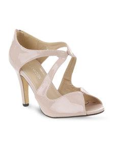 Footwork Patent Peep-Toe Heels Nude
