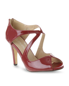 Footwork Patent Peep-Toe Heels Burgundy