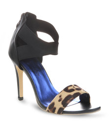 Footwork Leopard Print Heels Black