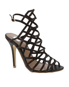 Footwork Courtney Snake Slingback Cage High Heel Brown