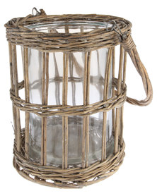 Forever Decor Willow Lantern With Glass Insert