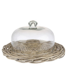 Forever Decor Glass Dome With Willow Tray