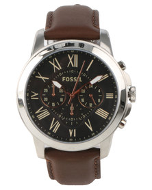Fossil Grant Black Dial Leather Strap Watch Brown