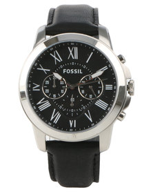 Fossil Grant Leather Strap Watch All Black