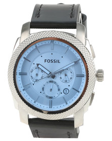Fossil Machine Blue Dial Leather Strap Watch Black