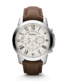 Fossil Grant Leather Strap Watch Silver/Brown