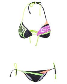 Fox Groove Triangle Bikini Top with Tie Side Bikini Bottoms Multi