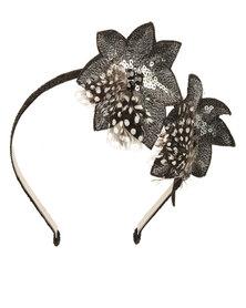 Fred Tsuya Flower Detail Alice Band Black