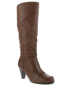 Froggie Leather Knee-High Boots Brown