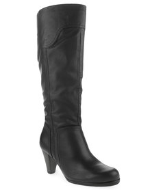Froggie Leather Knee-High Boots Black