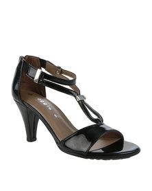 Froggie Minky Leather Heeled Sandal Black