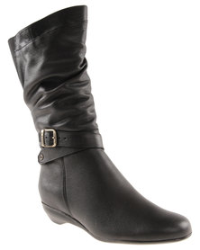Froggie Sade Leather Ankle Boot Black