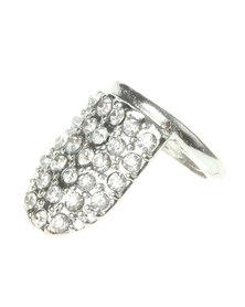 Funky Fish Diamante Nail Ring Silver-Tone