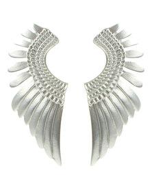 Funky Fish Wing Shape Earrings Silver-Tone