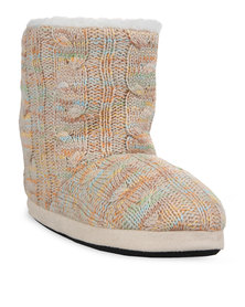 Funky Fish Braid Knitted Boot Slippers Multi