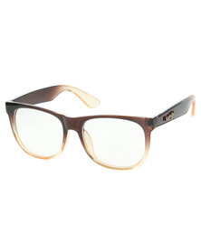 Funky Fish Gradient Frame Transparent Lens Glasses Brown