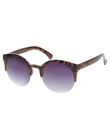 Funky Fish Animal Print Clubmaster Sunglasses Brown