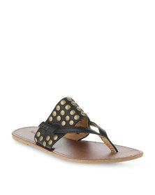 Funky Fish Stud Center Strap Sandal Black