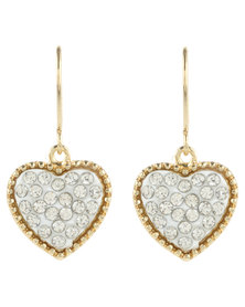 Funky Fish Diamante Heart Drop Earrings Silver/Gold