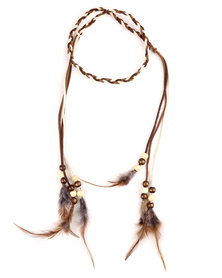 Funky Fish Feather & Beads Hair Accessory Brown