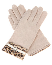 Funky Fish Leopard Trim Gloves Beige
