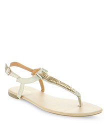 Funky Fish Gold Thong Sandals Gold-Tone