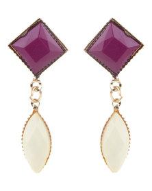 Funky Fish Purple & Cream Drop Earrings Multi