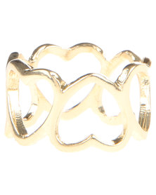 Funky Fish Heart Cut Out Ring Gold-Tone