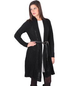 G Couture Only Long Knit Cardigan with Belt Black