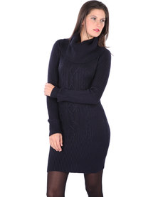G Couture Cowl Neck Knit Dress with Long Sleeves Navy