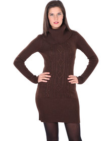 G Couture Cowl Neck Knit Dress with Long Sleeves Brown