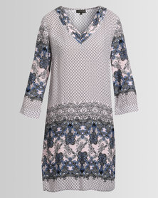 G Couture V Neck Printed Tunic Blue/Pink
