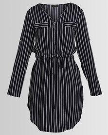 G Couture Stripe Zip - Up Tunic Navy Stripe