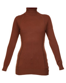 G Couture Polo Neck Jersey Rust