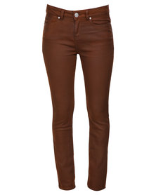 G Couture Treated Jeans Brown