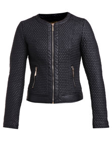 G Couture Quilted Biker Jacket Black