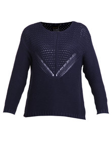 G Couture Knitted Detail Jersey Navy