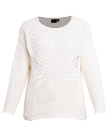 G Couture Knitted Detail Jersey White