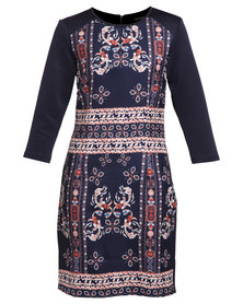 G Couture Jewelled Print Coloured Dress Blue