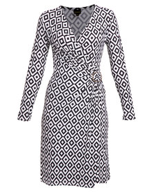 G Couture Wrap Dress with Monochrome Print Black and White