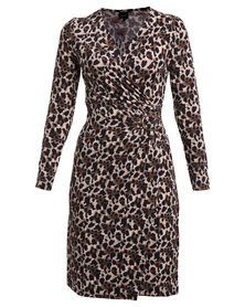 G Couture Wrap Dress with Leopard Print Multi
