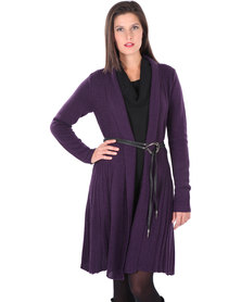 G Couture Only Long Knit Cardigan with Belt Purple