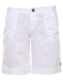 G Couture Linen Shorts White